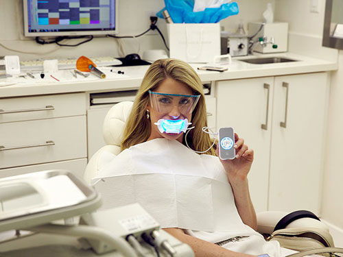 Female patient getting Glo Pro whitening